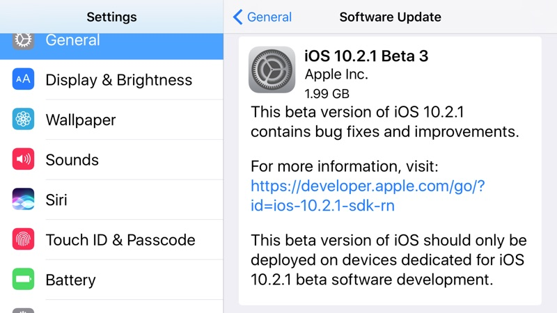 Apple Seeds Third Beta of iOS 10.2.1 Update to Developers