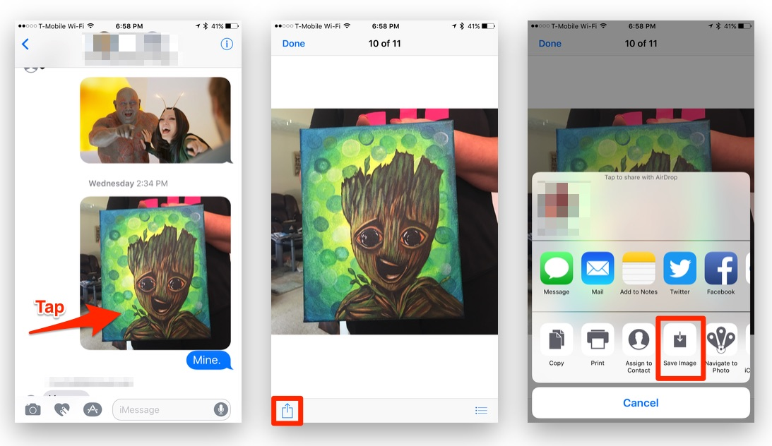 How To Save Photos in the iOS Messages App
