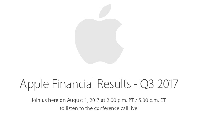 Apple to Announce Fiscal Q3 2017 Earnings on August 1