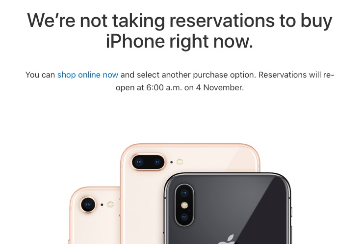Apple to Accept iPhone X Walk-In Reservations on Nov. 4 in Certain Countries
