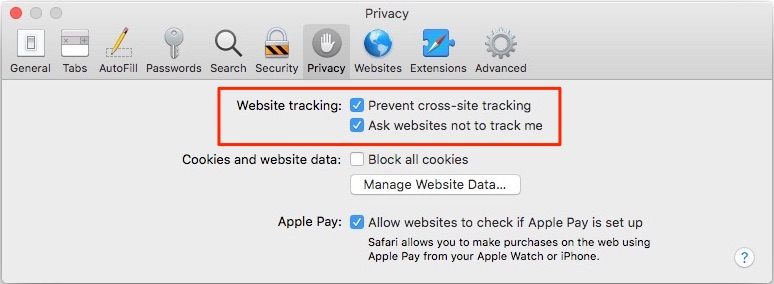 How To Prevent Tracking in the macOS High Sierra Safari Browser