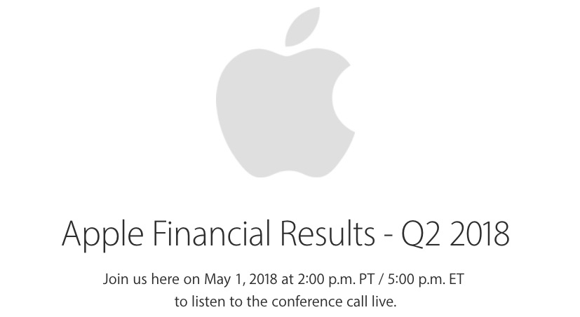 Apple to Announce Fiscal Q2 2018 Earnings on May 1