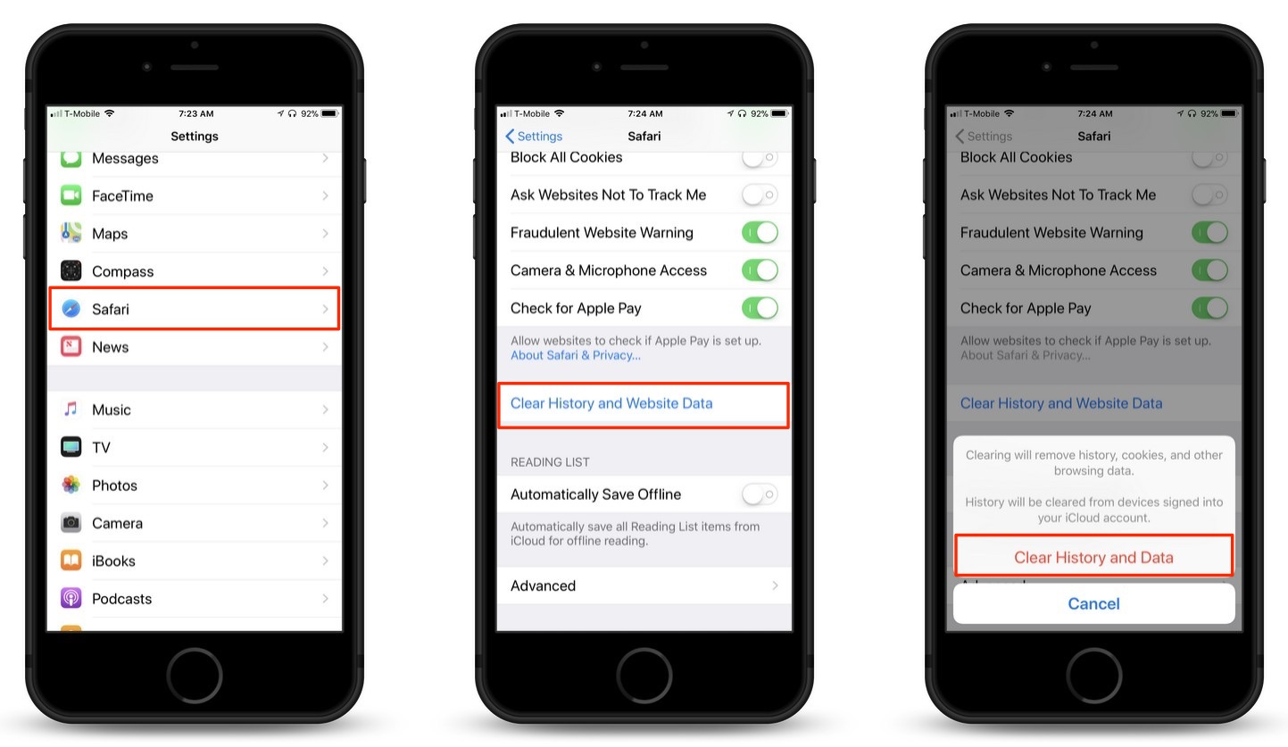 How To Clear Cache, Delete Cookies and Browsing History in iOS Safari