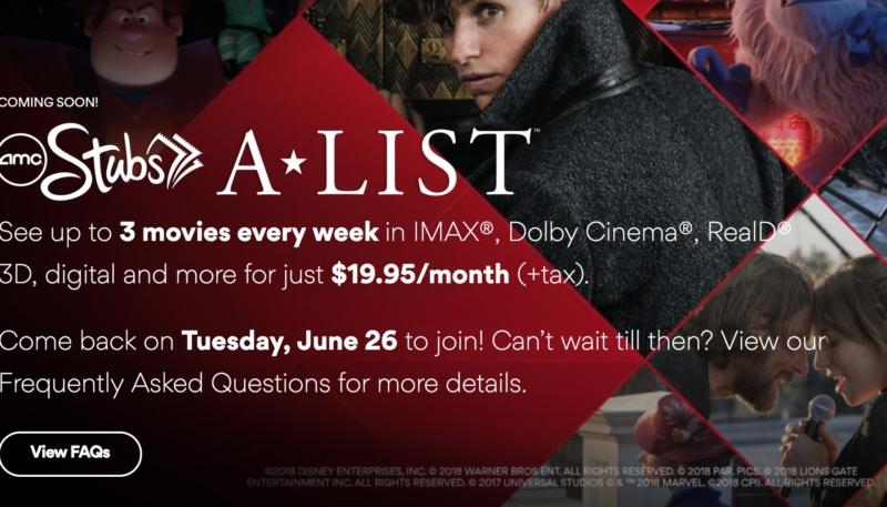 AMC Announces Stubs A-List Program – $19.95 per Month to See 3 Films a Week