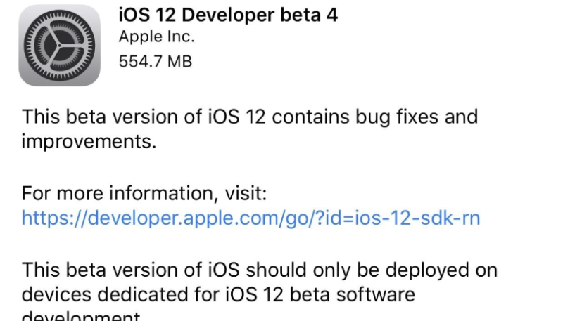 iOS 12 Beta 4 Officially Released to the Public