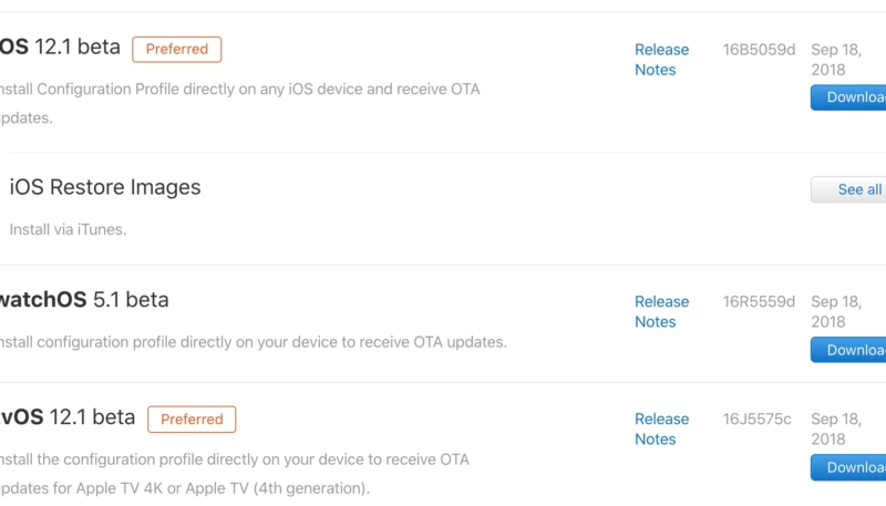 First Developer Betas of iOS 12.1, tvOS 12.1, and watchOS 5.1 Now Available