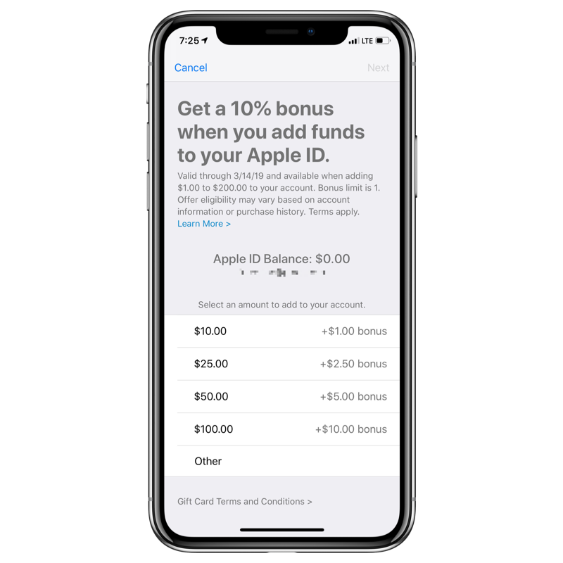Add Funds to Apple ID Bonus