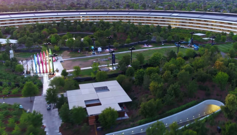 Drone Revisits Apple Park – Shows Colorful Mystery Stage in Center of 'Spaceship' Ring