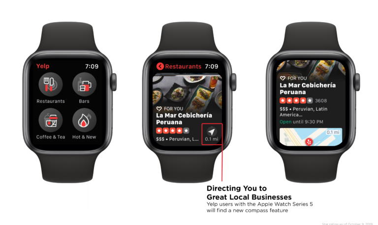 Yelp App Now Offers Support for Apple Watch Series 5 Compass