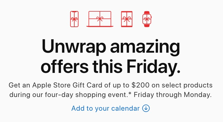 Apple Store Black Friday Deals to Run Through Monday – Get an up to $200 Apple Gift Card With Select Products