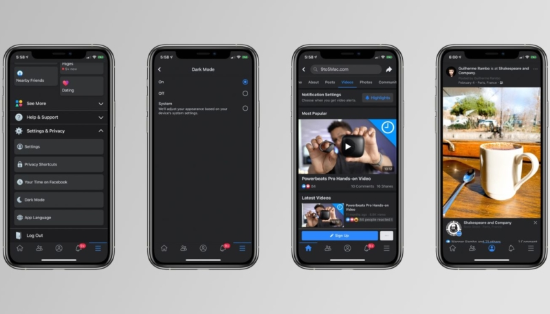 Facebook Rolling Out Dark Mode for iOS App
