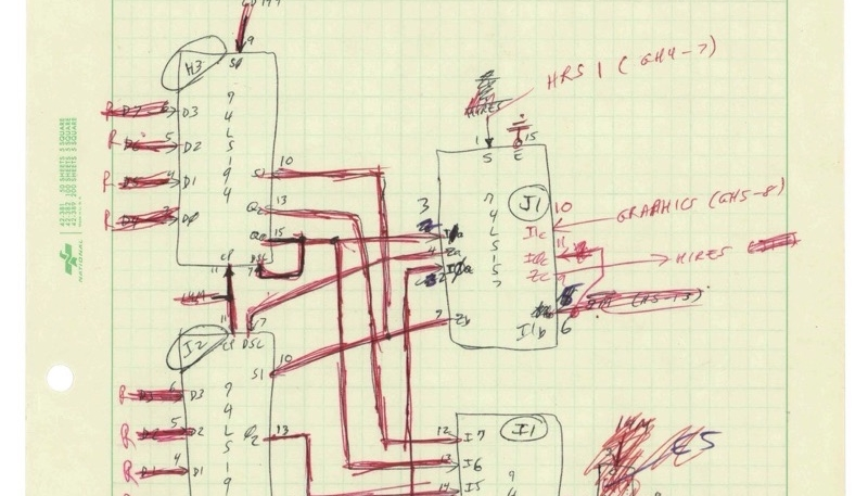 Steve Wozniak Hand-Written Schematics for Prototype Apple II Computer Sold for $630k at Auction, Apple-1 Sold for $737k