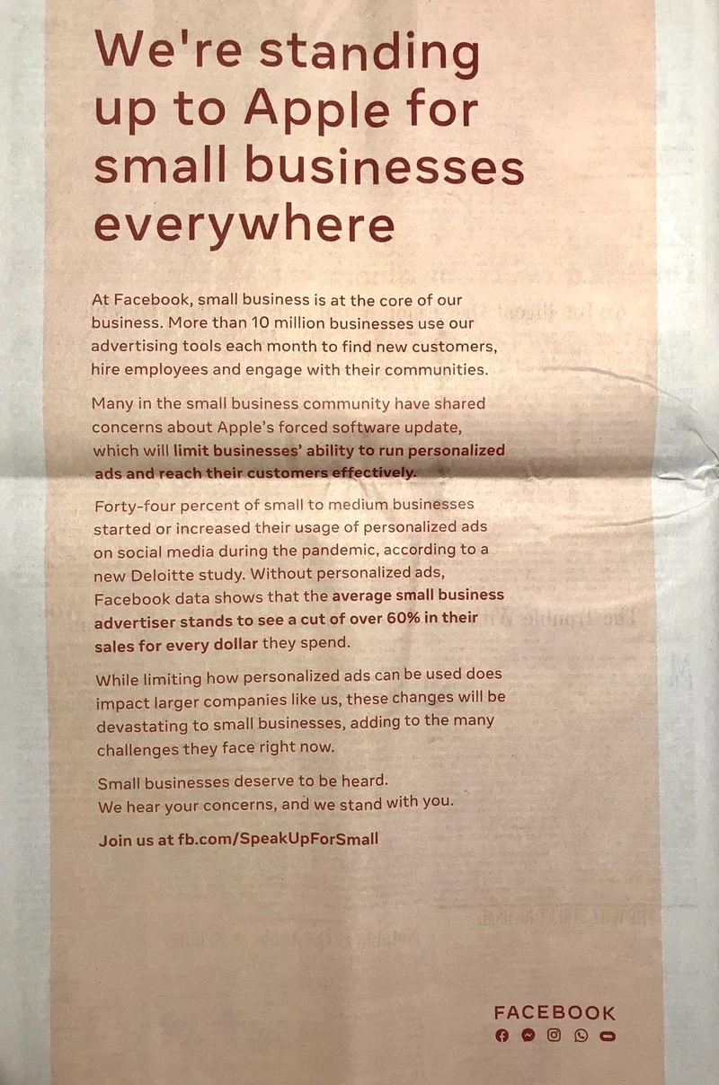 Facebook Full Page Anti-Apple Ad