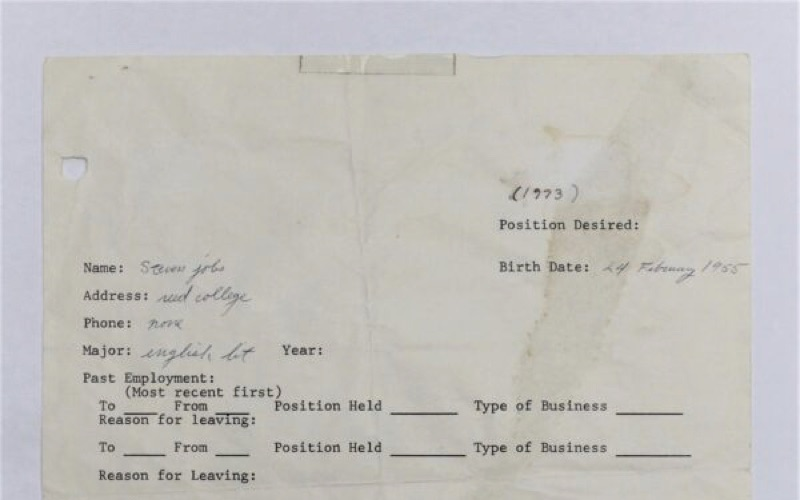 Steve Jobs Employment Application Headed Back to Auction Block as Physical Item and NFT