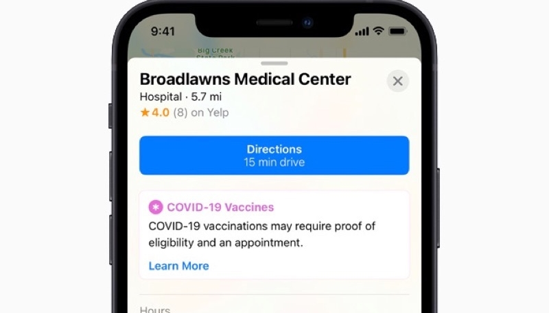 Apple Maps Now Displays COVID-19 Vaccination Locations Throughout United States
