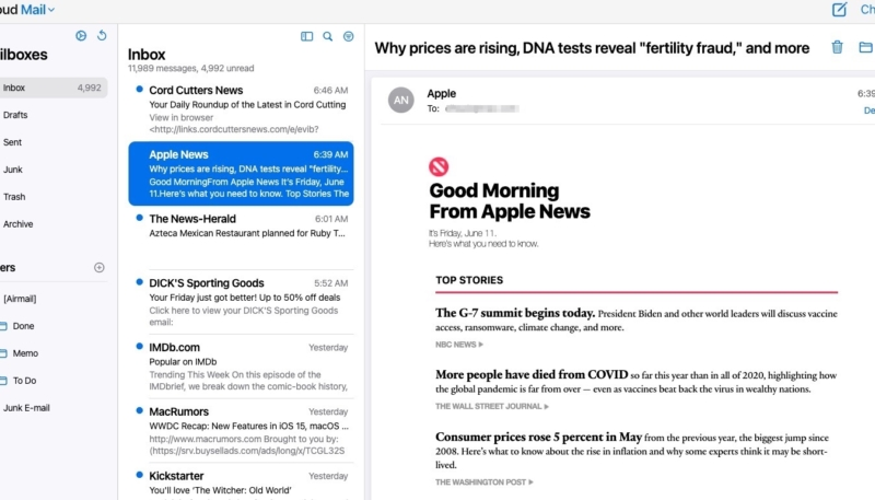 Apple Begins Testing Redesigned iCloud Mail for Web
